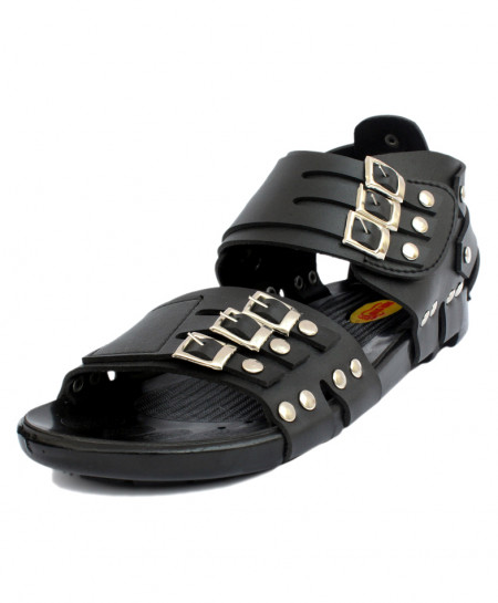 Black High Ankle Tri Straps Casual Sandal RF-1009