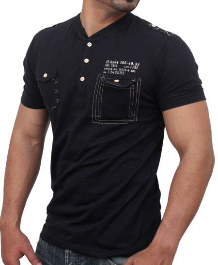 Black Threaded Flap Pocket Designer Tee