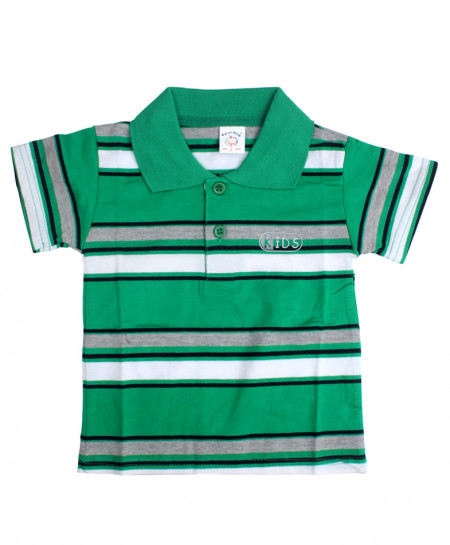Green Grey Striped Kids Polo Shirt