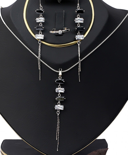 Black and Silver Beads Necklace Set TC-407