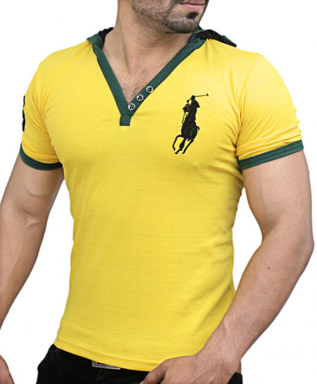 Yellow Big Polo Pullover Style Designer Tee