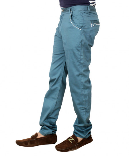 Slate Blue Stylish Chino Cotton Pants HG-1807