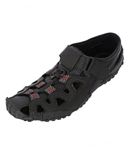 Black Red Closed Toe Modern Style Casual Sandal