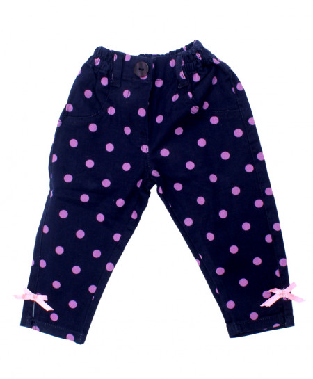 Pink Dotted Dark Blue Baby Girl Cotton Capri