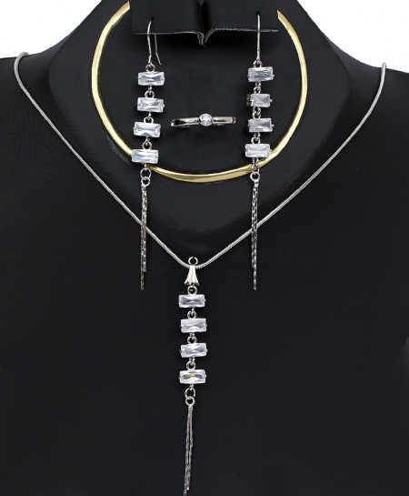 Silver Diamond Bunch Style Necklace Set TC-501