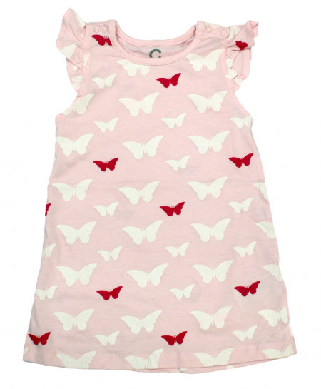 Pink Butterfly Stylish Baby Girl Frock