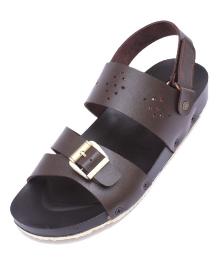 Brown Strap Holes Style Casual Sandal