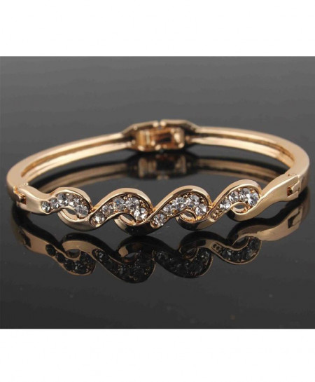 Gold Filled Twist Austrian Crystal Bracelet Bangle