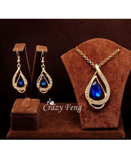 18k Gold Filled Blue Ruby Necklace And Earrings