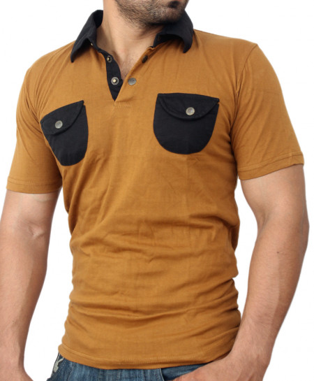 Brown Double Front Pocket Designer Tee