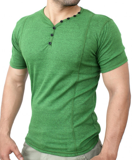 Green V-Neck Button Jersey-Style T-Shirt QZS-980