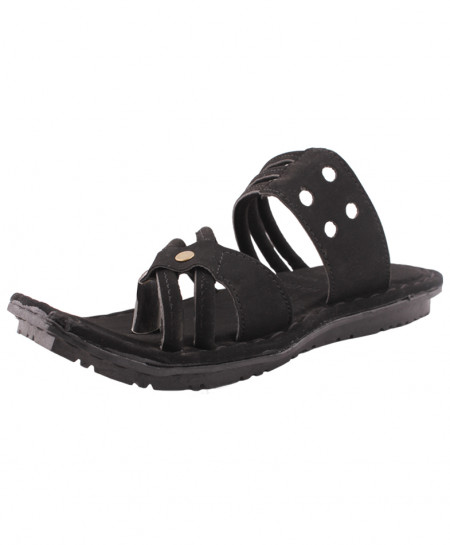 Black Straps And Holes Style Casual Slippers