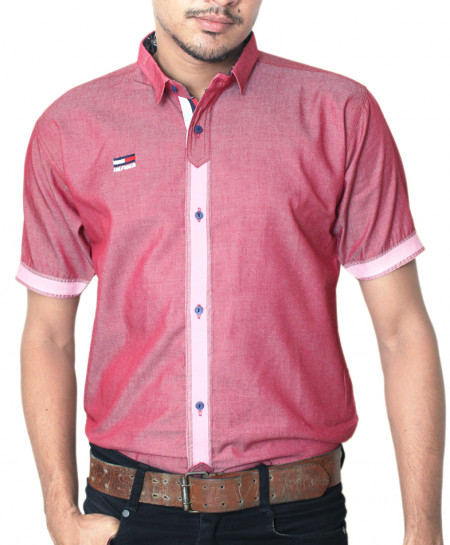 Red Shaded With Pink Tipping Stylish Half Sleeve Shirt