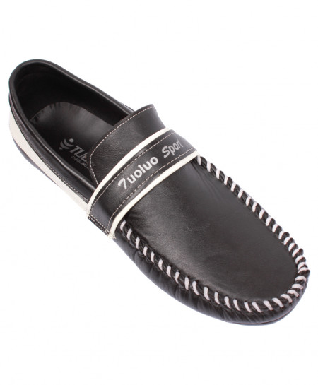 Black With White Stitched Style Loafers PCT-1004