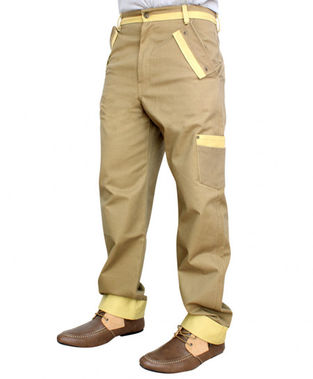Khaki Contrast Pocket Cargo Trousers TK-231