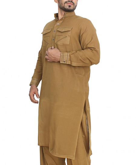 Brown Front Pockets Stylish Shalwar Kurta OM-5005