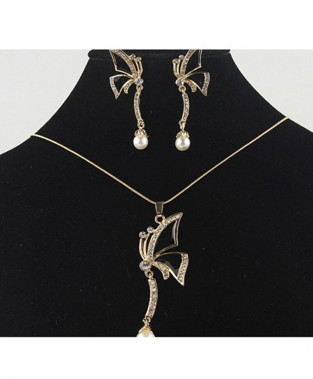 Pearls Style Gold Plated Jewellery Set AM-009