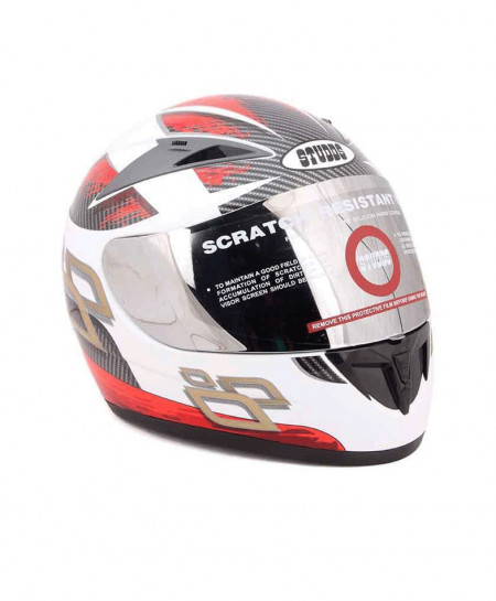 Studds Scorpion With Decor D4 White N2 Sports Helmet