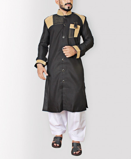 Black Stylish Shoulder Patch Sherwani Style Kurta ART-6621