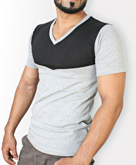 Grey And Black Stylish T-Shirt QZS-004