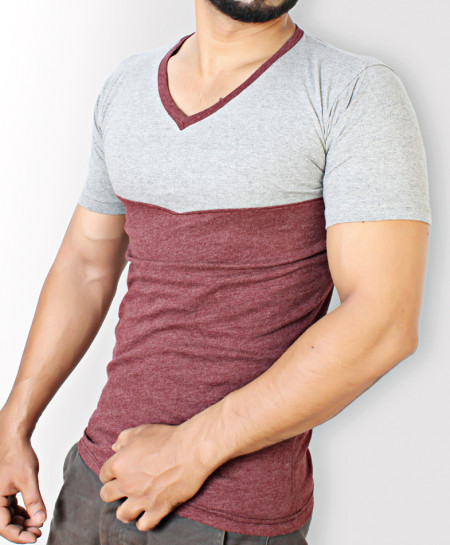 Maroon And Grey Stylish T-Shirt QZS-003