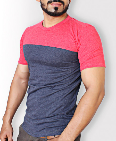 Navy Blue And Red Stylish T-Shirt QZS-007