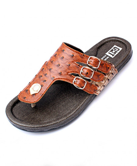 Brown And Black Flip Flop Side Tri Buckle Stylish Slipper CR-5222