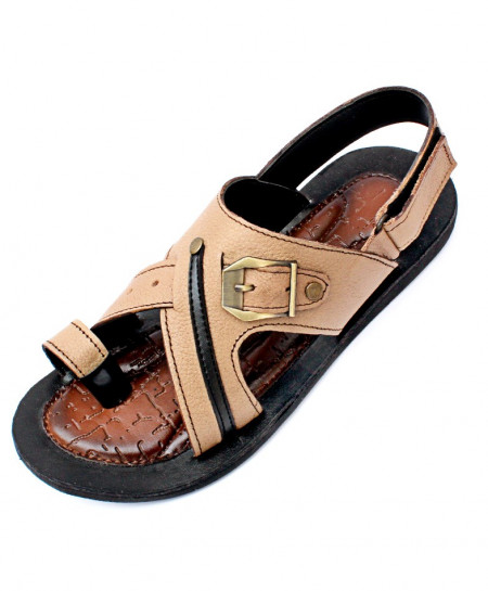 Light Brown Toe Loop Buckle Strap Design Casual Sandal CR-5228