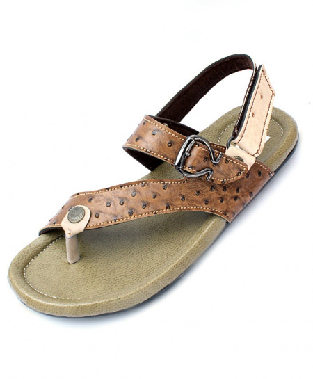 Brown Toe Loop Doted Design Casual Sandal CR-5235