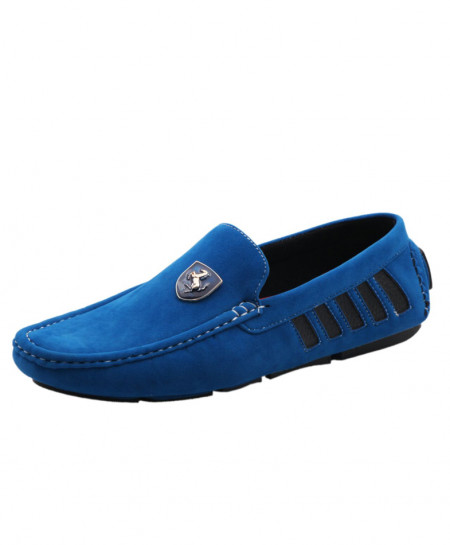 Ink Blue Suede Cut Out Design Loafer Shoes SJ-010