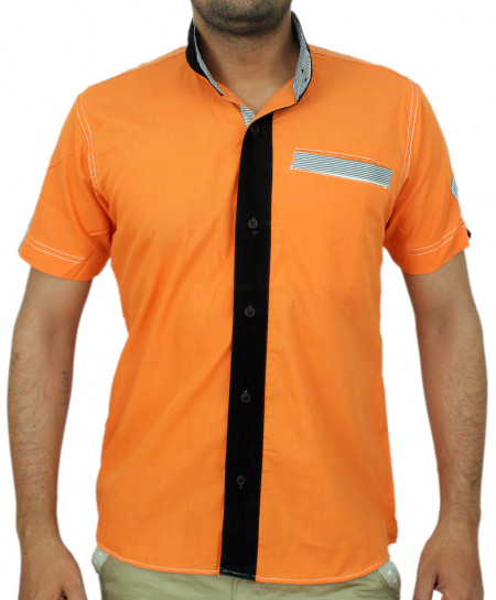 Orange Velvet Tipping Modern Style Casual Shirt