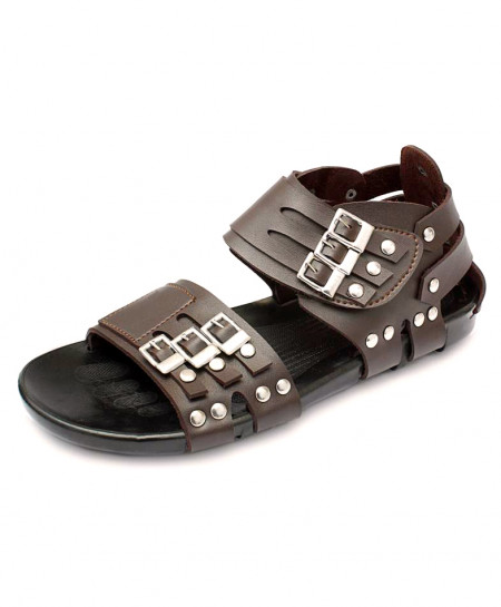 Dark Brown High Ankle Tri Straps Casual Sandal RF-1006