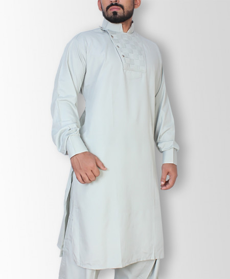 Slate Grey Stylish Neck Kurta Shalwar ART-7623