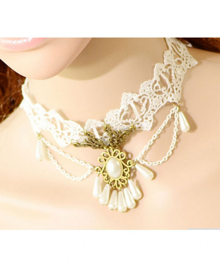 White Lace Style Necklace AM-047