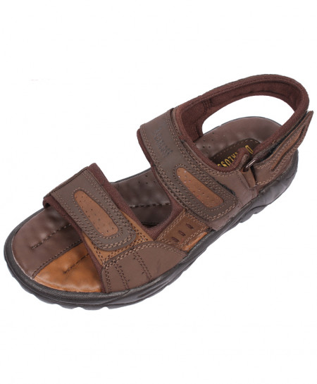 Brown Double Strap Leather Sandal LS-1004