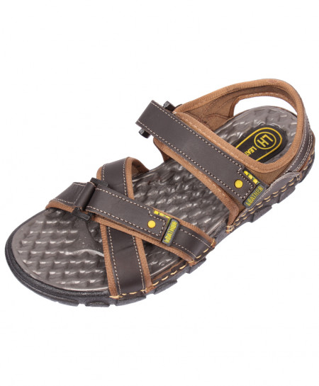 Choco Brown Cross Strap Leather Sandal LS-1006
