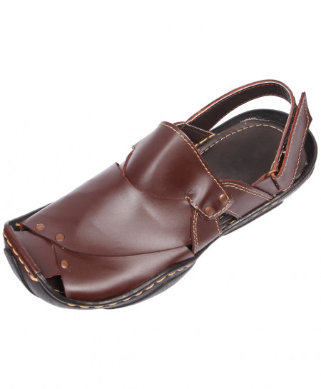 Brown Plain Leather Arabic Closed Toe Stylish Sandal