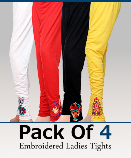Pack Of 4 Embroidered Ladies Tights