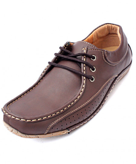Choco Brown Dotted Stitched Style Casual Shoes DR-071