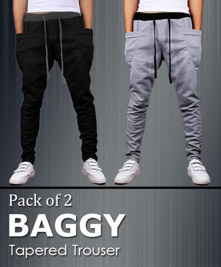 Pack Of 2 Tapered Baggy Trousers