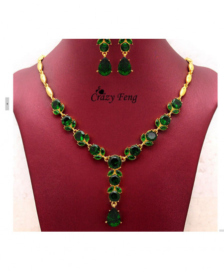 Green Gold Plated With Australian Crsytals AM-092