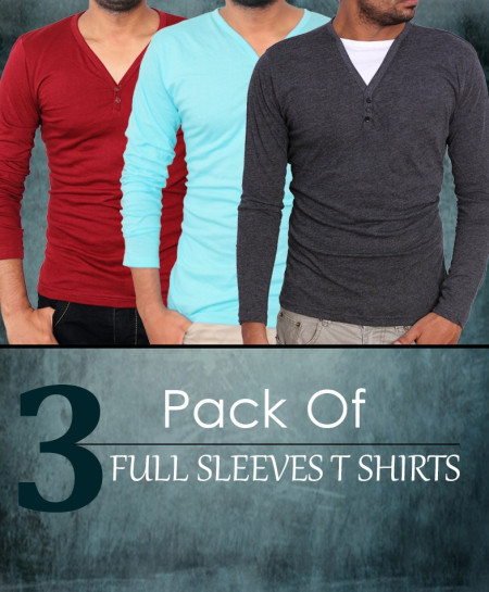Pack Of 3 Full Sleeve T-Shirts EM-07