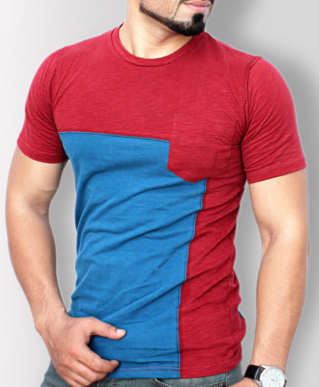 Red With Blue Contrast Stylish T-Shirt QZS-013
