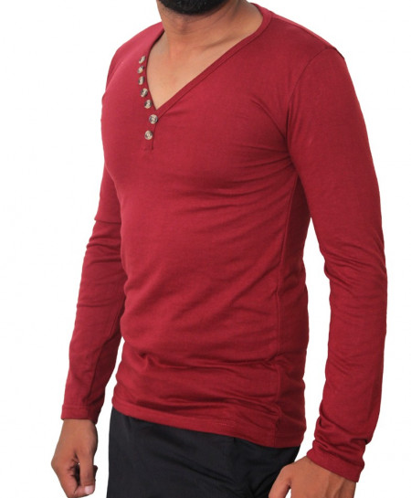 Brick Maroon V-Neck Button Style Full Sleeves T-Shirt
