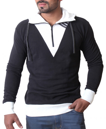 Black Stylish Pullover Hoodie With Grey Contrast