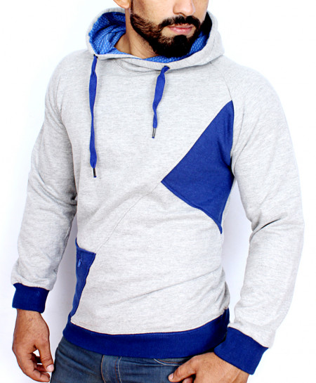 Heather Grey With Blue Contrast Pull Over Fashion Hoodie