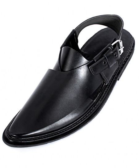 Black Leather Handcrafted Peshawari Chappal HCL-001