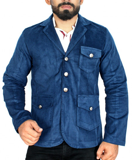 Denim Blue Tri Pocket Style Corduroy Blazer ZD-8785