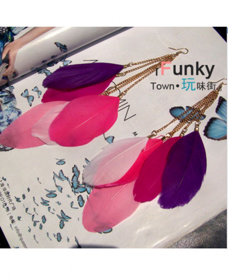 Multi Colors Long Feather Earrings AM-131