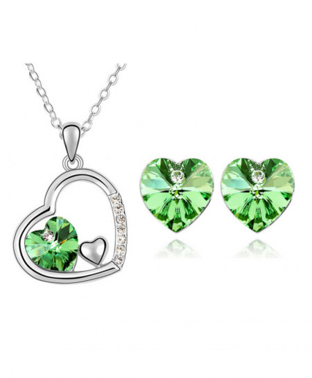 Green Stylish Silver Plated Necklace AM-136